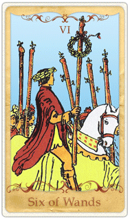 The 6 of Wands Tarot Card based on Rider-Waite