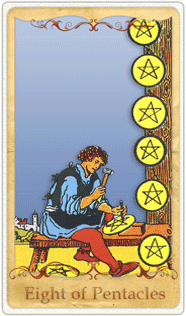 The 8 of Pentacles Tarot Card based on Rider-Waite