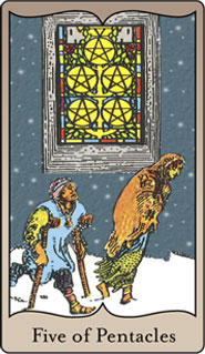 The 5 of Pentacles Tarot Card based on Rider-Waite
