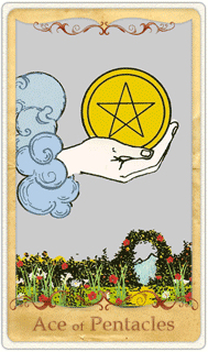 The Ace of Pentacles Tarot Card based on Rider-Waite