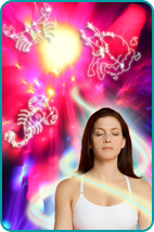 Woman surrounded by light, mystical background with zodiac signs