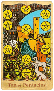 The Ten of Pentacles Tarot Card based on Rider-Waite