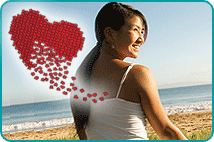 Asian woman on beach healing her heart