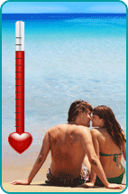 Couple on sunny beach with love thermometer