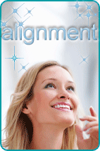 Manifesting woman looking up at 'alignment' mystically written above her head