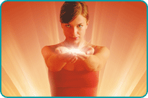 Woman holding glowing energy in outstretched hands over shining background