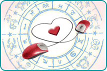 Two computer mice with cartoon heart over zodiac wheel