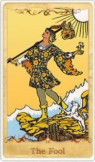 The Fool Tarot Card based on Rider-Waite