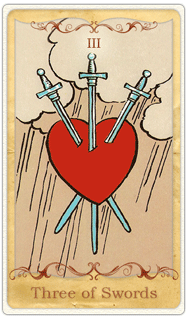 The 3 of Swords Tarot Card based on Rider-Waite