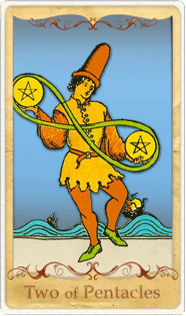 The 2 of Pentacles Tarot Card based on Rider-Waite