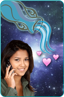 An Aquarius woman on the phone with her psychic asking for love advice, with a space background an an illustration of a pouring jar and hearts above her head