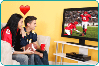 A woman with her new love interest, watching the Superbowl on TV