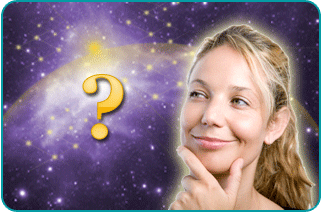 A woman wondering if manifesting her dreams will really work, with an illustrated question mark next to her head and a space background behind her