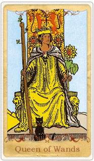 The Queen of Wands Tarot Card based on Rider-Waite