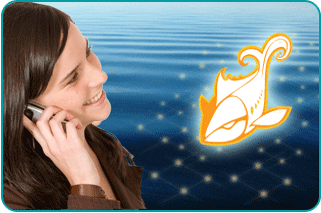 A smiling woman asking her psychic on the phone about love advice, with a lake in the background and an illustrated fish symbol of Pisces in the foreground