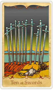 The 10 of Swords Tarot Card based on Rider-Waite