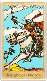The Knight of Swords Tarot Card based on Rider-Waite