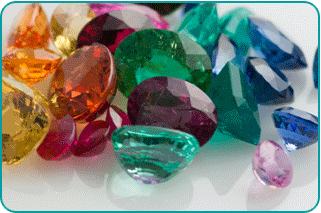 A pile of birthstone gems
