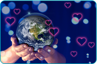 A pair of hands holding the earth with hearts surrounding it