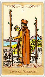 The 2 of Wands Tarot Card based on Rider-Waite