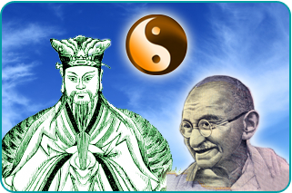 Illustrations of Confucious, Gandhi and a ying-yang over a blue sky