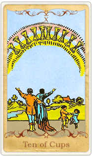 The 10 of Cups Tarot Card based on Rider-Waite