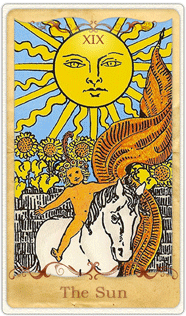 The Sun Tarot Card based on Rider-Waite