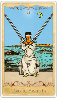 The 2 of Swords Tarot Card based on Rider-Waite