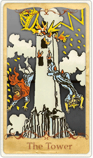 The Tower Tarot Card based on Rider-Waite