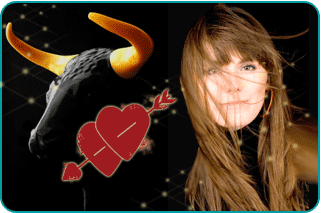 A Taurus woman's face with the head of a bull in the background and two hearts between them