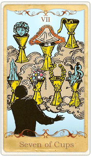 The 7 of Cups Tarot Card based on Rider-Waite