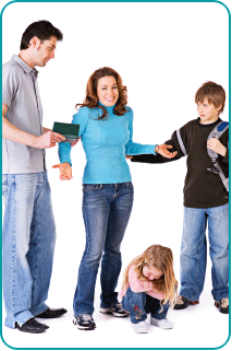 A woman shrugging her shoulders as she is surrounded by her boyfriend and his kids