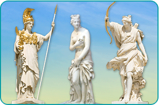The three Greek goddesses Athena, Aphrodite and Artemis