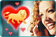 Smiling red-headed woman with cartoon heart & lion in foreground