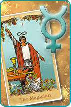 Symbol for the planet mercury and The Magician tarot card