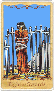 The 8 of Swords Tarot Card based on Rider-Waite