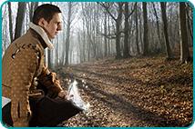 Kneeling prince in dark woods, holding a glass slipper