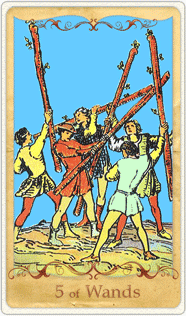 The 5 of Wands Tarot Card based on Rider-Waite