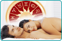 Two lovers lying on top of each other with zodiac wheel in background