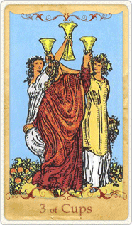 The 3 of Cups Tarot Card based on Rider-Waite