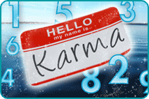 'Hello, My Name Is' name tag with 'Karma' written on it