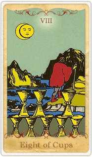 The 8 of Cups Tarot Card based on Rider-Waite