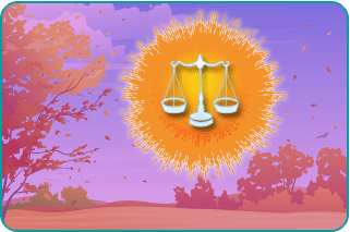 Illustration of Libra scales within the sun on an autumn day