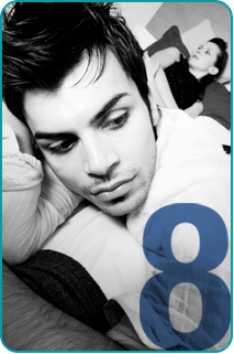 Guy lying in bed with woman in background and numeral 8 superimposed over image