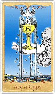 The Ace of Cups Tarot Card based on Rider-Waite