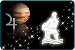 Illustrated constellation of Aquarius over planet Jupiter with symbol in background
