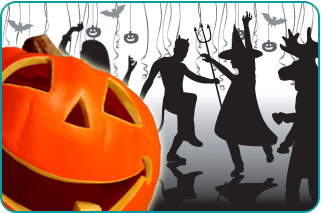 Jack-o-lantern in foreground with illustrated silhouttes of costumed people dancing at a halloween party in background