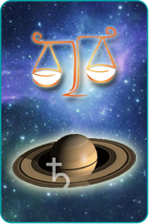Illustration of Libra's scales over the planet Saturn with nebula background