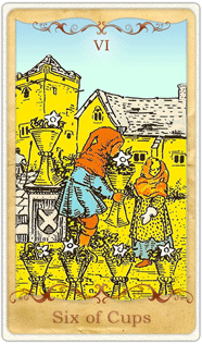 The 6 of Cups Tarot Card based on Rider-Waite
