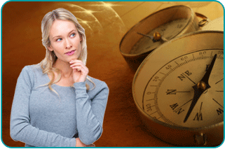 Pondering woman with close-up of two compasses in background
